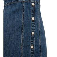 Blue Denim Button Bodycon Dress New Look