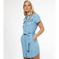Pale Blue Button Up Denim Mini Dress New Look