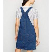 Blue Denim Pinafore Dress New Look