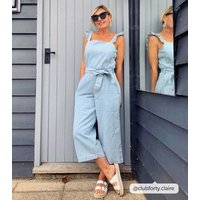 Pale Blue Frill Belted Crop Denim Jumpsuit New Look