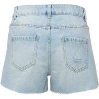Pale Blue Frayed Denim Shorts New Look