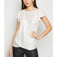 White Metallic Jacquard Flutter Sleeve Top New Look