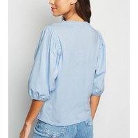 Pale Blue Puff Sleeve Top New Look