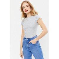 Grey Marl Frill Trim Cap Sleeve T-Shirt New Look
