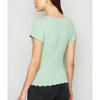 Light Green Frill Trim Cap Sleeve T-Shirt New Look