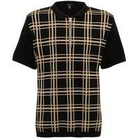 Men's Plus Size Black Check Zip Neck Polo Shirt New Look