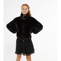 Girls Black Faux Fur Bomber Jacket New Look