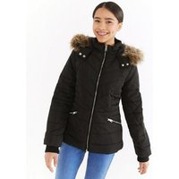 Girls Black Faux Fur Trim Fitted Puffer Jacket New Look