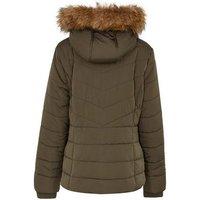 Girls Khaki Faux Fur Trim Fitted Puffer Jacket New Look