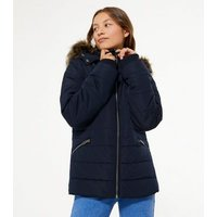 Girls Navy Faux Fur Trim Fitted Puffer Jacket New Look