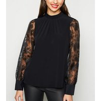 Black High Neck Puff Organza Sleeve Blouse New Look