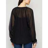 Black Tie Neck Chiffon Blouse New Look