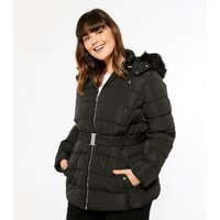 Curves Black Belted Faux Fur Puffer Jacket New Look