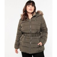 Curves Khaki Belted Faux Fur Puffer Jacket New Look