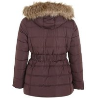 Curves Burgundy Belted Faux Fur Puffer Jacket New Look