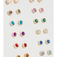 12 Pack Multicoloured Gem Stud Earrings New Look