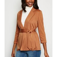 Rust Belted Oversized Jersey Blazer New Look