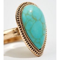 Turquoise Teardrop Gem Ring New Look