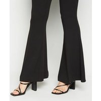 Black Crepe Flared Trousers New Look