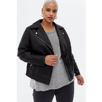 Curves Black Leather-Look Quilted Biker Jacket New Look