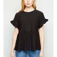 Black Broderie Frill Peplum Top New Look