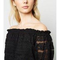 Black Lace Puff Sleeve Bardot Top New Look