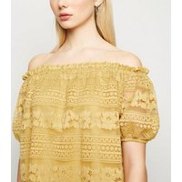 Mustard Lace Puff Sleeve Bardot Top New Look