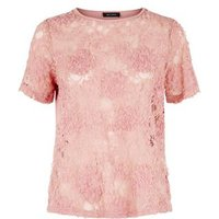 Pale Pink 3D Lace Short Sleeve Top New Look