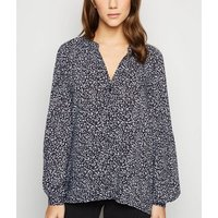 Black Ditsy Floral Grandad Collar Shirt New Look