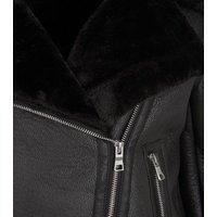 Petite Black Leather-Look Faux Fur Lined Aviator Jacket New Look