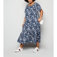 Blue Vanilla Curves Blue Floral and Spot Midi Dress New Look
