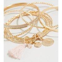 6 Pack Gold Glitter Tassel Bangles New Look