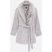 Petite Pale Grey Faux Fur Collar Belted Coat New Look