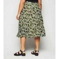 Blue Vanilla Curves Green Leaf Midi Skirt New Look
