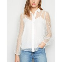 White Spot Mesh Puff Sleeve Shirt New Look