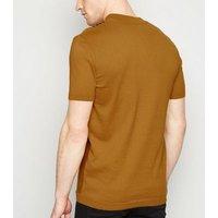 Mustard Vertical Stripe Button Up T-Shirt New Look