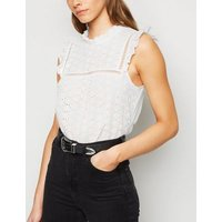 White Broderie Frill High Neck Blouse New Look