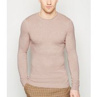 Stone Cotton Crew Muscle Fit Jumper New Look
