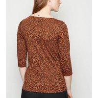 Maternity Brown Leopard Print 3/4 Sleeve Top New Look