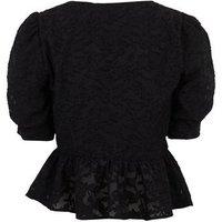 Black Floral Burnout Puff Sleeve Peplum Blouse New Look