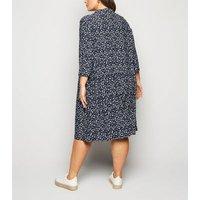 Blue-Vanilla-Curves-Blue-Floral-Print-Shirt-Dress-New-Look