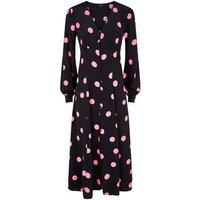 Black Spot Button Long Sleeve Midi Dress New Look