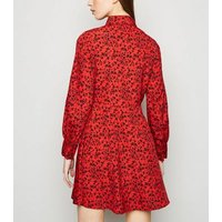 Red-Floral-Long-Sleeve-Shirt-Dress-New-Look