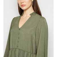 Khaki V Neck Button Front Smock Dress New Look