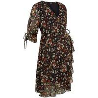 Maternity Black Floral Tie Sleeve Wrap Dress New Look