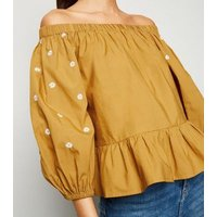 Orange Embroidered Daisy Puff Sleeve Bardot Top New Look