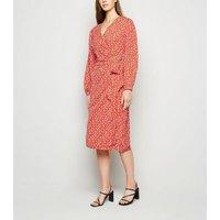 Red Leopard Print Midi Wrap Dress New Look