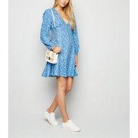 Blue Daisy Print Puff Sleeve Mini Dress New Look