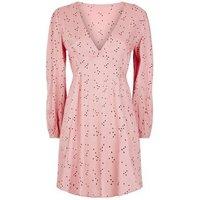 Pink Heart Print Long Sleeve Dress New Look