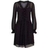 Black Chiffon Spot Frill Trim Mini Smock Dress New Look